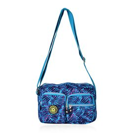 Designer Inspired Blue and Pink Colour Leaves Pattern Blue Colour Handbag with External Zipper Pocket and Adjustable Shoulder Strap (Size 25x18x8 Cm)