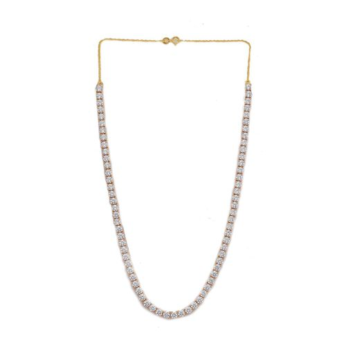 J Francis - 14K Gold Overlay Sterling Silver (Rnd) Necklace (Size 18) Made with SWAROVSKI ZIRCONIA 18.000 Ct.