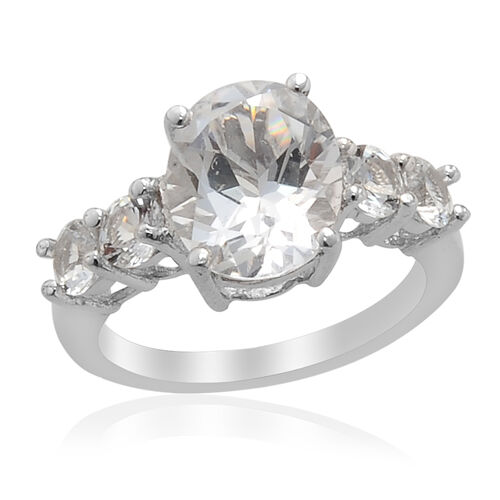 Golconda Diamond Topaz Platinum Overlay Sterling Silver Ring  5.15 Ct.