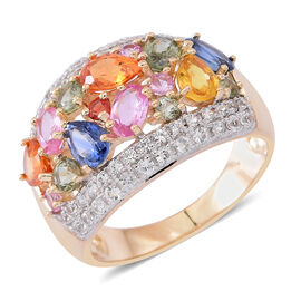 Limited Edition-9K Y Gold AAA Rainbow Sapphire (Pear), Natural Cambodian White Zircon Cocktail Ring 4.350 Ct.Gold Wt 5.25 Gms