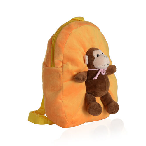 Orange Colour School Bag With Chocolate Colour Monkey Kids Backpack (Size 32x28 Cm)