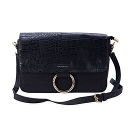 Croc Embossed Black Colour Crossbody Bag with Removable Shoulder Strap (Size 27x16x9 Cm)