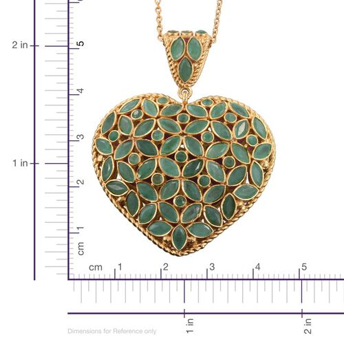 AAA Brazilian Emerald (Mrq), AAA African Ruby Reversable Heart Pendant with Chain in 14K Gold Overlay Sterling Silver 11.450 Ct.