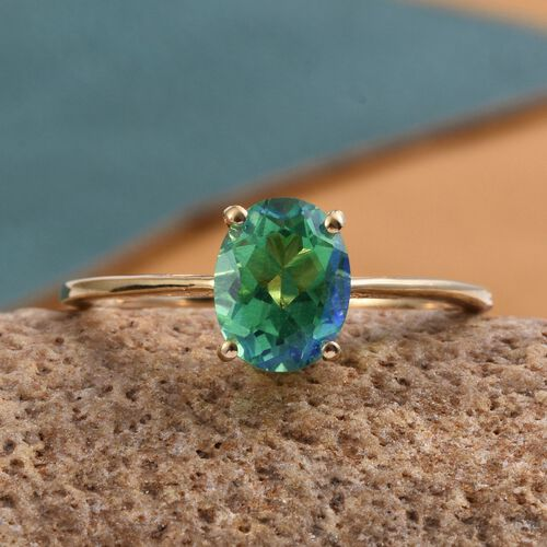 Peacock Quartz (Ovl) Solitaire Ring in 14K Gold Overlay Sterling Silver 2.000 Ct.
