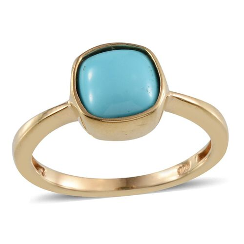 Arizona Sleeping Beauty Turquoise (Cush) Solitaire Ring in 14K Gold Overlay Sterling Silver 2.250 Ct.