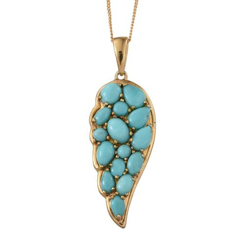 Sonoran Turquoise (Ovl 0.50 Ct) Angel Wing Pendant With Chain in 14K Gold Overlay Sterling Silver 4.000 Ct.