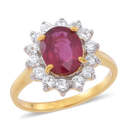 African Ruby (Ovl 3.75 Ct), Natural Cambodian White Zircon Ring in 14K Gold Overlay Sterling Silver 5.000 Ct.