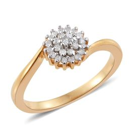 Diamond (Rnd) Floral Ring in 14K Gold Overlay Sterling Silver 0.150 Ct.