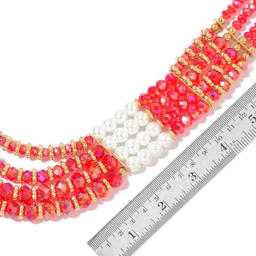 Simulated Pearl and Red Colour Seed Beads Necklace (Size 23 with Extender) in Yellow Gold Tone