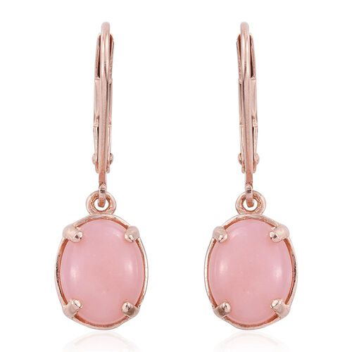 Natural Peruvian Pink Opal (Ovl) Lever Back Earrings in Rose Gold Overlay Sterling Silver 3.000 Ct.