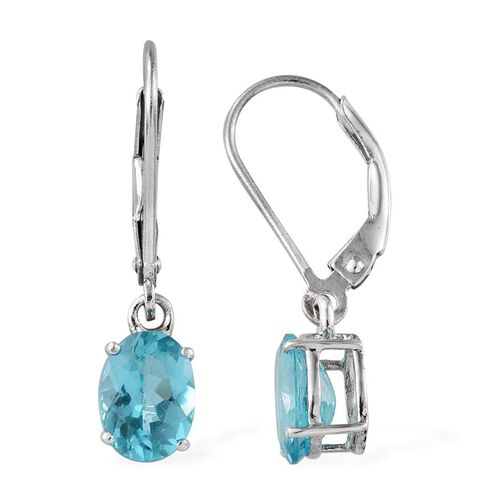 AA Paraibe Apatite (Ovl) Lever Back Earrings in Platinum Overlay Sterling Silver 2.000 Ct.
