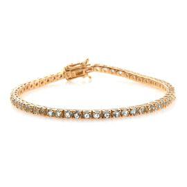 5.25 Ct AA Espirito Santo Aquamarine Silver Tennis Bracelet in Gold Overlay (Size 7.5)
