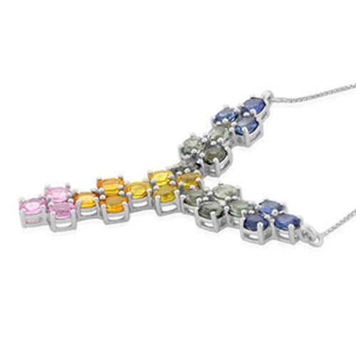 Multi Gem Stone Platinum Overlay Sterling Silver Necklace (Size 18) With Chain (Size 18) 4.770 Ct.