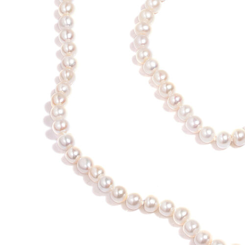 9K Y Gold AAA Fresh Water White Pearl Necklace (Size 34)