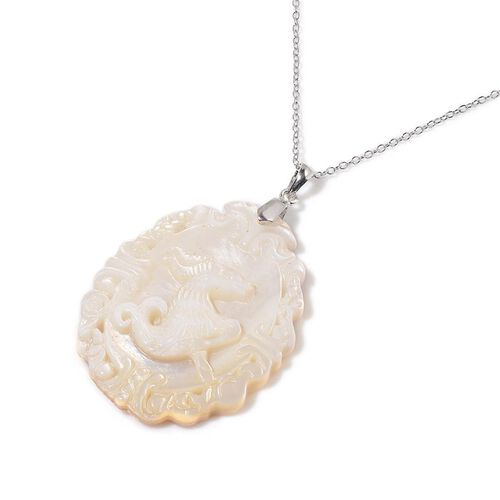 White Shell ZODIAC Capricorn Pendant With Chain in Sterling Silver