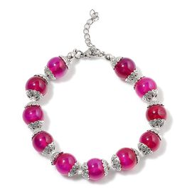 Pink Agate Bracelet (Size 7.5 with 1 inch Extender) in Silver Tone 25.000 Ct.