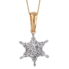Diamond (Rnd) Snowflake Pendant With Chain in 14K Gold Overlay Sterling Silver 0.330 Ct.