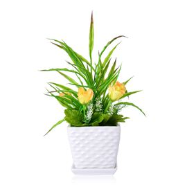 Home Decor - Yellow Flower Plant in a White Ceramic Pot (Size 40x12x12 Cm)