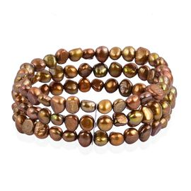 Fresh Water Chocolate Pearl Multi Strand Stretchable Bracelet (Size 7.5) in Stainless Steel