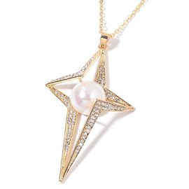 AAA White Austrian Crystal and Simulated Star Pendant With Chain (Size 30 with 2 inch Extender) in Yellow Gold Tone