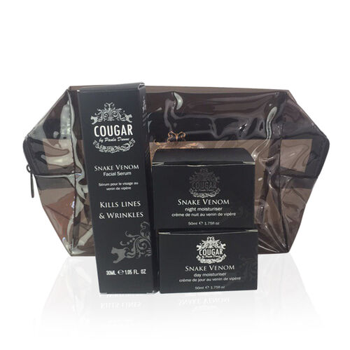 COUGAR- Snake Gift set- Day Moist 50ml, Night Moist 50ml and Serum 30ml -Black Bag