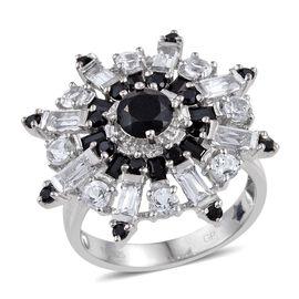 GP Boi Ploi Black Spinel (Rnd 1.20 Ct), Kanchanaburi Blue Sapphire and White Topaz Snowflake Ring in Platinum Overlay Sterling Silver 5.000 Ct.