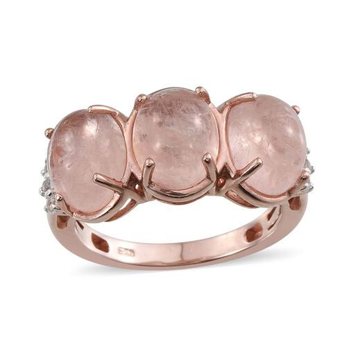 Marropino Morganite (Ovl 5.65 Ct), White Topaz Ring in Rose Gold Overlay Sterling Silver 5.750 Ct.