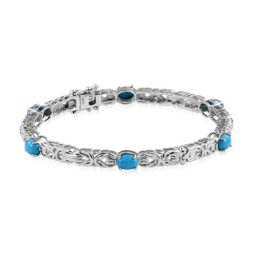 Arizona Sleeping Beauty Turquoise (Ovl) Bangle (Size 7.5) in Platinum Overlay Sterling Silver 5.000 Ct.