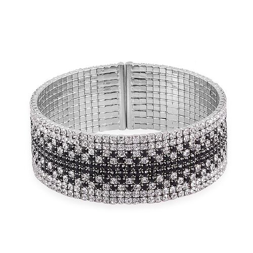 AAA White and Black Austrian Crystal Cuff Bangle (Size 7.5) in Silver Tone