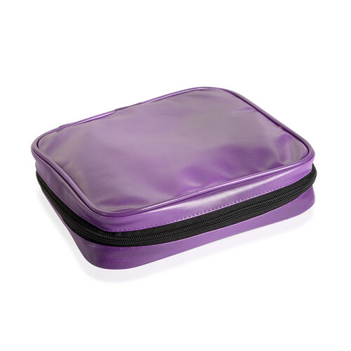Purple Colour Travelling Jewellery Bag (Size 25x20x6 Cm) with 5 Transparant Zipper Pouch (Size 19x15 Cm)