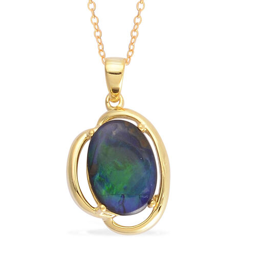Canadian Ammolite (Ovl) Solitaire Pendant With Chain in Yellow Gold Overlay Sterling Silver 3.500 Ct.