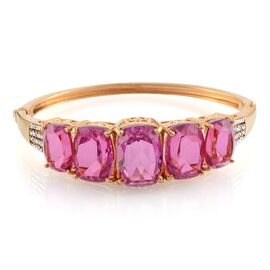 Radiant Orchid Quartz (Cush 12.50 Ct), Diamond Bangle (Size 7.5) in 14K Gold Overlay Sterling Silver 44.800 Ct.
