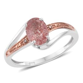 Pink Lepidocrocite Natural Quartz (Ovl), Red Diamond Ring in Platinum Overlay Sterling Silver 1.000 Ct.