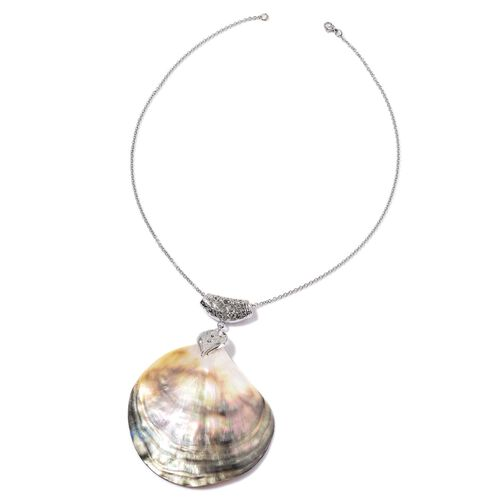Black Shell Pendant With Chain in Silver Tone with Stainless Steel 5.000 Ct.