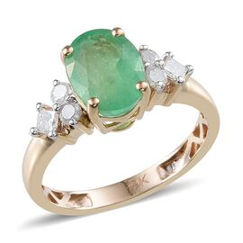 9K Y Gold Boyaca Colombian Emerald (Ovl 1.50 Ct), Diamond Ring 1.750 Ct.
