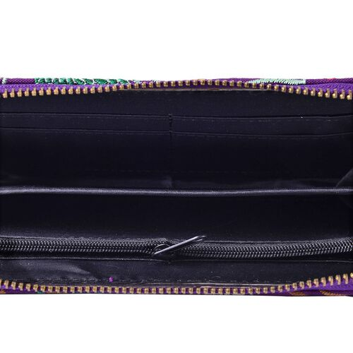 Shanghai Collection Lavender Colour Peacock and Flower Embroidery Wallet (Size 19x10x2 Cm)