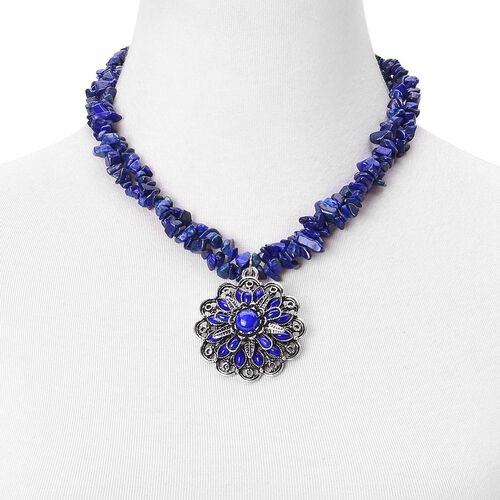 Lapis Lazuli and Blue Howlite Dual Strand Floral Necklace (Size 18 with 2 inch Extender) and Hook Earrings in Black Tone 473.500 Ct.
