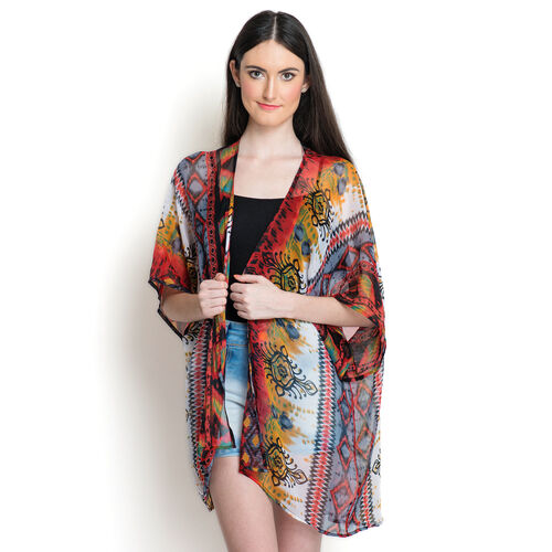 Multi Colour Printed White Colour Kimono (Free Size)
