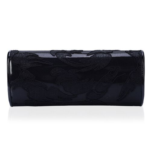 Black Colour Clutch Bag with Lace and Chain Strap (Size 25x10 Cm)