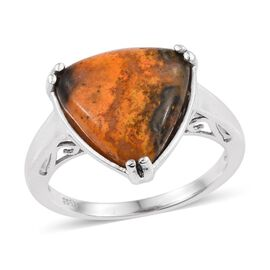Bumble Bee Jasper (Trl) Solitaire Ring in Platinum Overlay Sterling Silver 6.750 Ct.