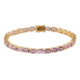 Rose De France Amethyst (Ovl) Tennis Bracelet (Size 7.5) in Yellow Gold Overlay Sterling Silver 12.000 Ct.