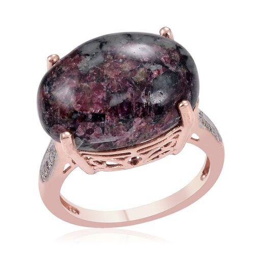 Natural Russian Eudialyte (Ovl 8.75 Ct), Diamond Ring in Rose Gold Overlay Sterling Silver 8.770 Ct.