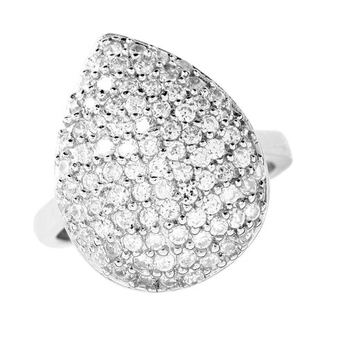 AAA Simulated White Diamond (Rnd) Cluster Ring in Sterling Silver