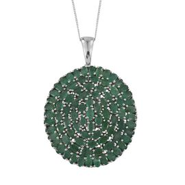 Kagem Zambian Emerald (Ovl) Cluster Pendant With Chain in Platinum Overlay Sterling Silver 17.500 Ct.