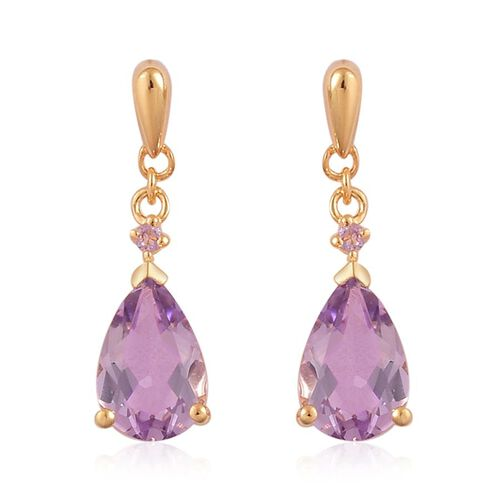Rose De France Amethyst (Pear) Earrings (with Push Back) in Yellow Gold Overlay Sterling Silver 2.520 Ct.