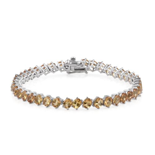 Marialite (Ovl) Bracelet (Size 7.5) in Platinum Overlay Sterling Silver 12.000 Ct.