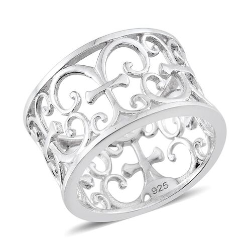 Platinum Overlay Sterling Silver Band Ring, Silver wt 4.53 Gms.