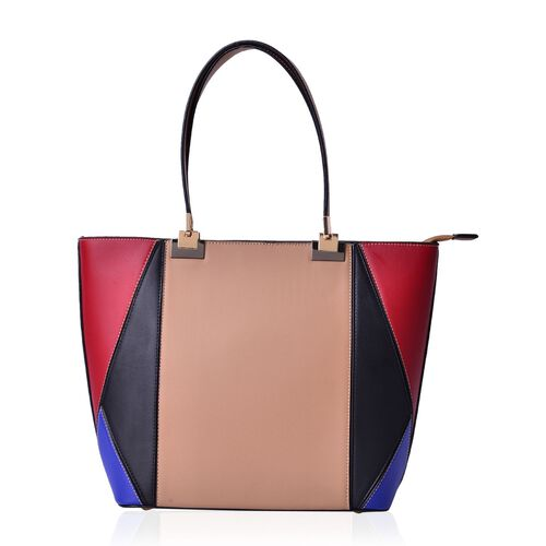 Light Tan, Red, Blue and Black Colour Tote Bag (Size 42x30x14 Cm)