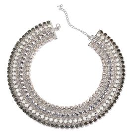 AAA White and Grey Austrian Crystal, Simulated Stones Necklace (Size 18 with 2 inch Extender) in Silver Tone