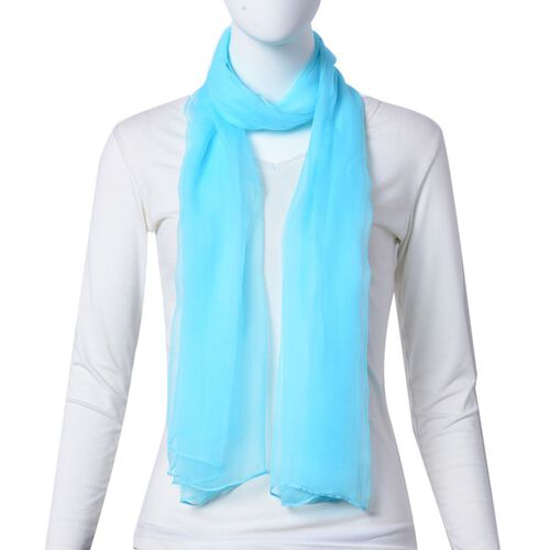 Pantone Collection - 100% Mulberry Silk Island Paradise Blue Colour Scarf (Size 170x70Cm)